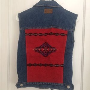 Vintage Pendleton Wool Back patch Denim Jean Vest